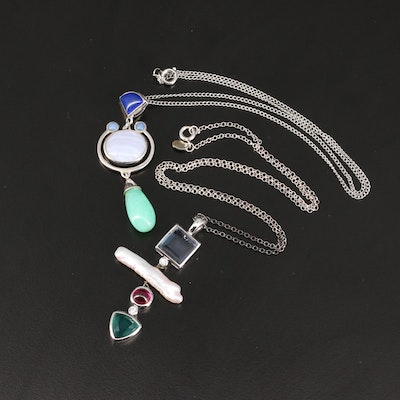 Sterling Silver Pendant Necklaces Featuring Lace Agate, Lapis Lazuli and Ruby
