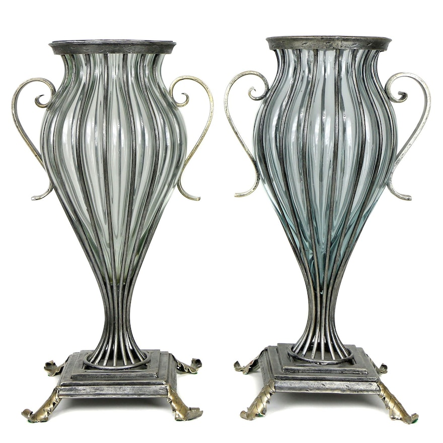 Pair of David A. Millett Metal and Glass Urns
