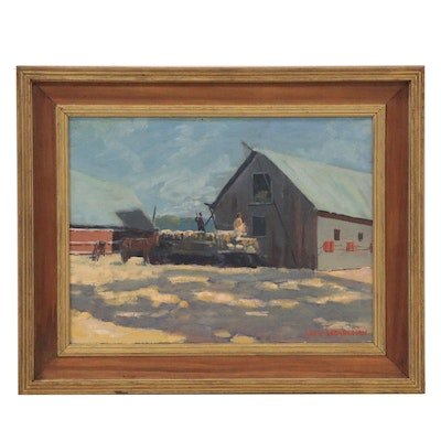 Giragos Der Garabedian Oil Painting of a Farm Scene, Mid 20th Century