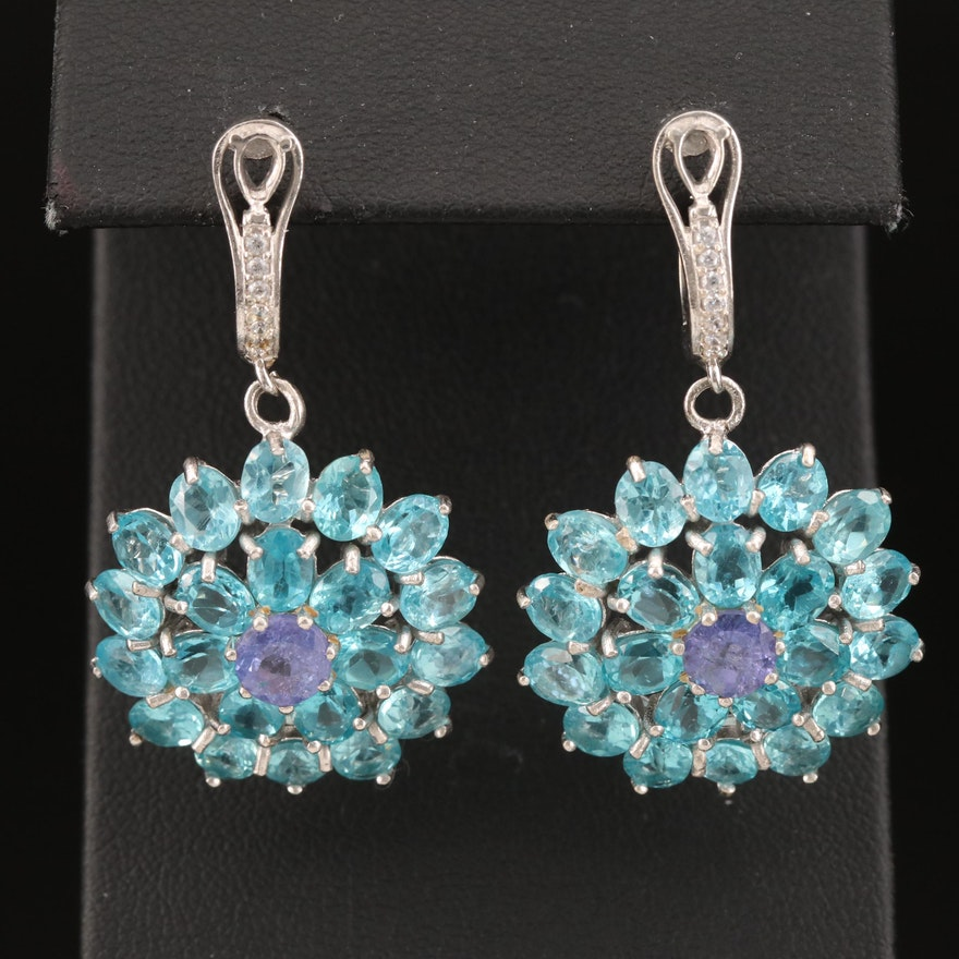 Sterling Apatite, Tanzanite and Cubic Zirconia Dangle Earrings