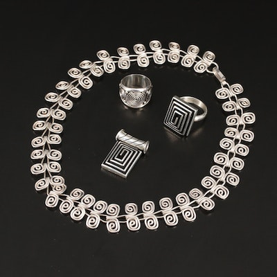 Sterling Silver Jewelry Featuring Dominique Dinouart and Spiral Motifs