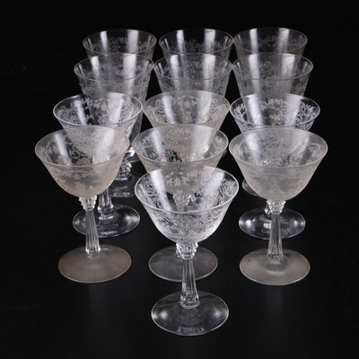 Etched Clear Glass Champagne and Iced Tea Glasses