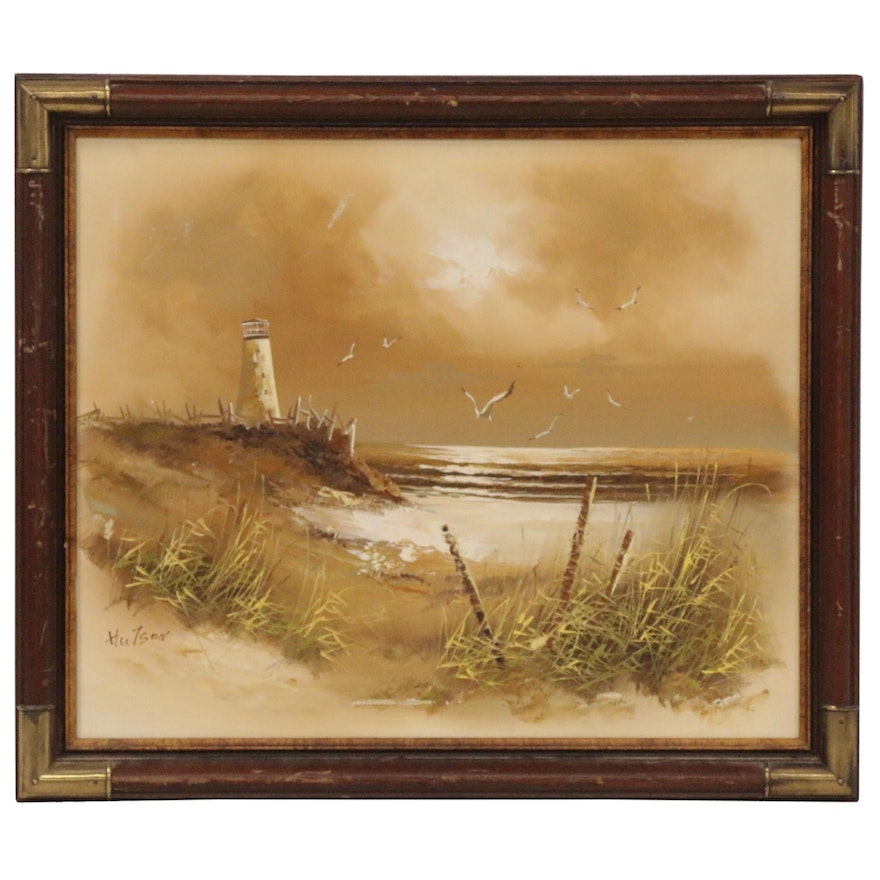 Coastal Landscape Oil Painting, Mid to Late 20th Century