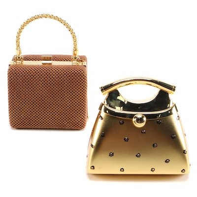 Two-Way Evening Bags in Embellished Gold Tone Metal and Copper Tone Mesh