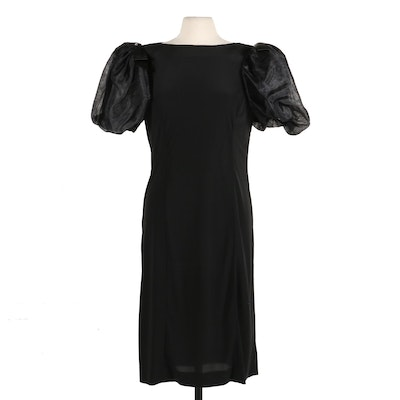 Lillie Rubin Bow and Rhinestone-Accented Puff Sleeve Cocktail Dress, Vintage