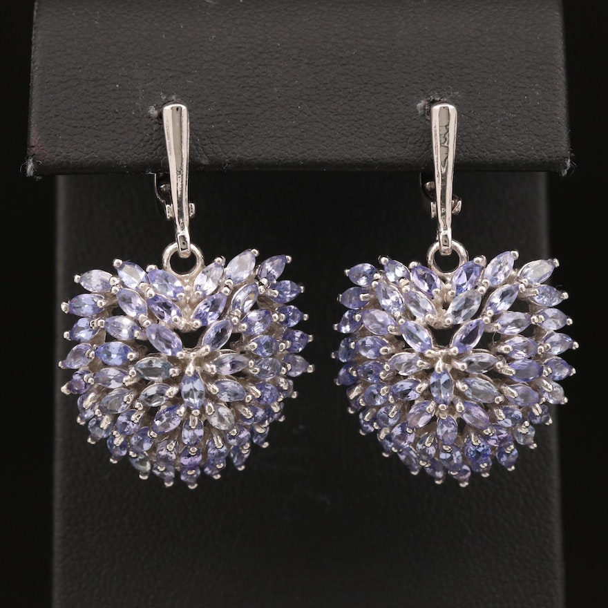 Sterling Tanzanite Cluster Earrings