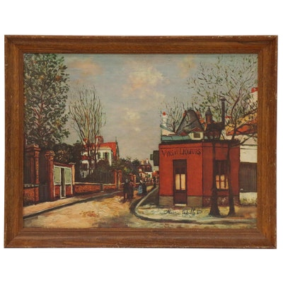 Offset Lithograph after Maurice Utrillo French Street Scene