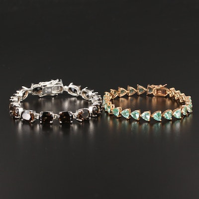 Sterling Silver Smoky Quartz and Spinel Link Bracelets