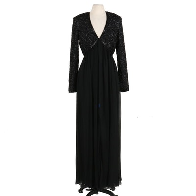 Stephen Yearick Hand-Beaded Black Silk Overlay Evening Gown with Front-Slit