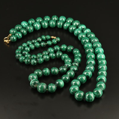 Hand Knotted Malachite and Glass Graduated Beaded Necklaces