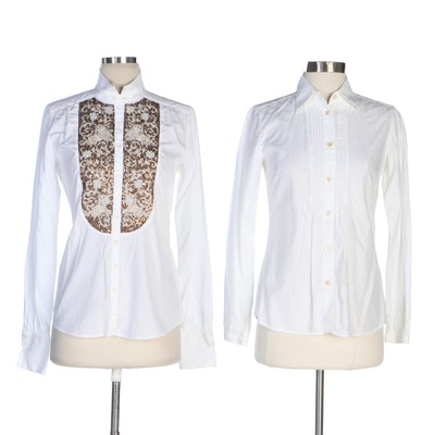 ETRO Embellished and Arabesque Jacquard White Cotton Shirts