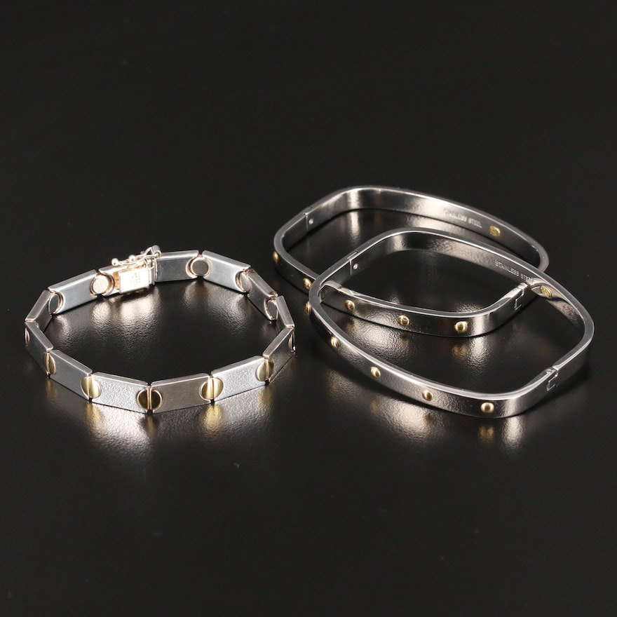 Sterling Silver Bracelet and Stainless Steel Bangles with 18K Accents