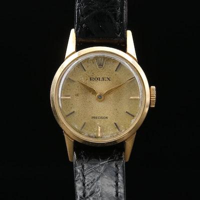 1956 Rolex Precision 9168 18K Gold Stem Wind Wristwatch