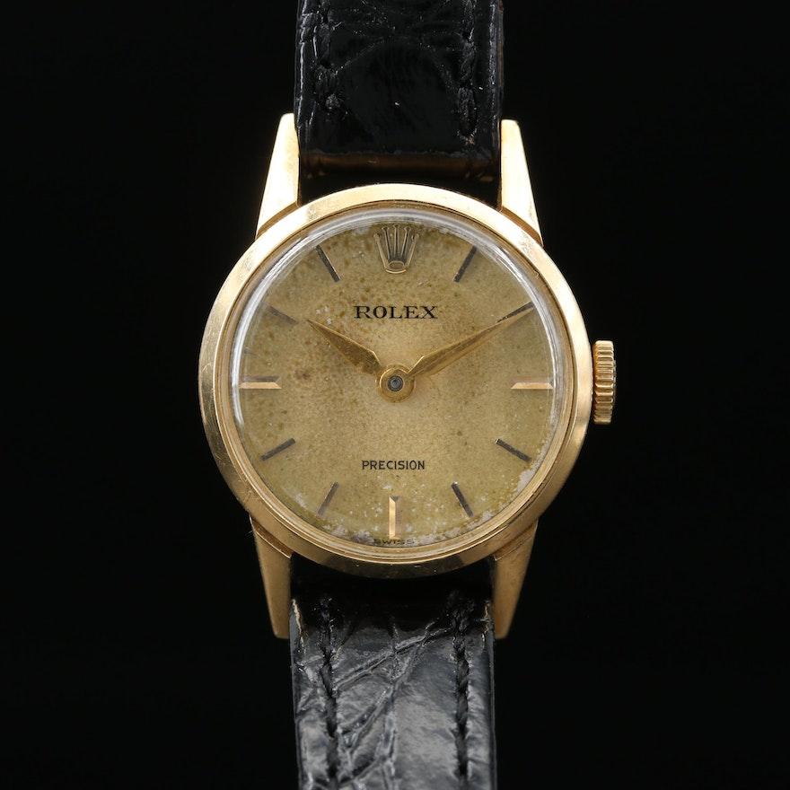 1956 Rolex Precision 9168 18K Gold Stem Wind Wristwatch
