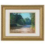 "Marcus Brewer Impressionist Style Pastel Drawing ""River Crossing"""