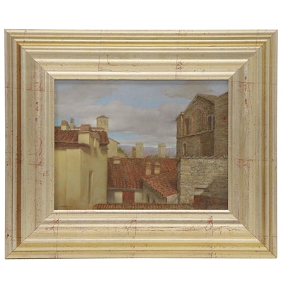 """Attributed to Owen Walsh Oil Painting """"A Tuscan City"""", 2002"""
