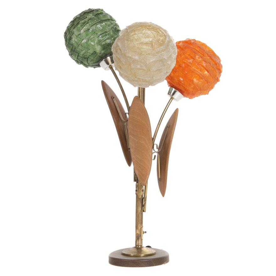 Mid Century Modern Spaghetti Globe Floral Table Lamp