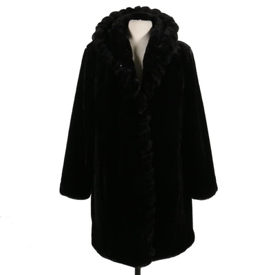 Marvin Richards Faux Fur Hooded Coat with Wrap Trim Detail