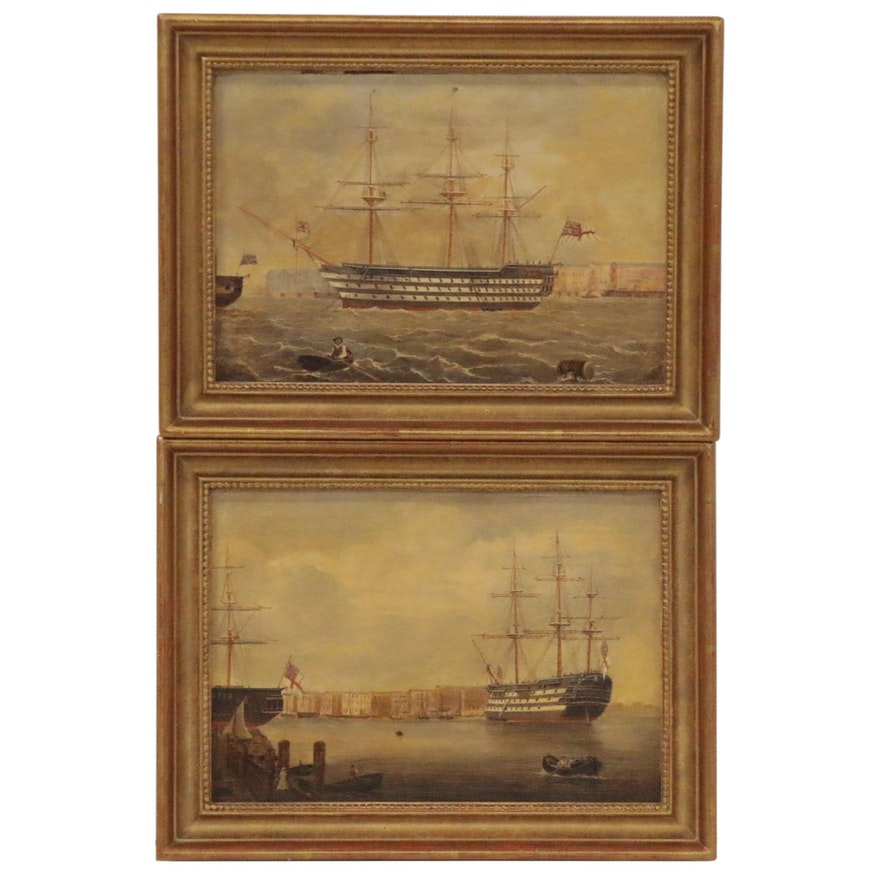 British Naval Scene Folk Art Paintings, Late 19th to Early 20th Century