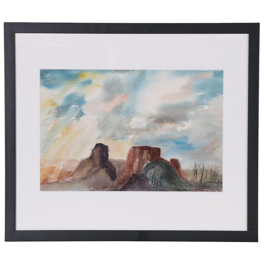Blanche Gardener Watercolor Painting of Landscape