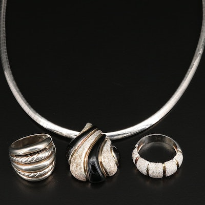 Sterling Silver Necklace and Rings with Enamel Accents