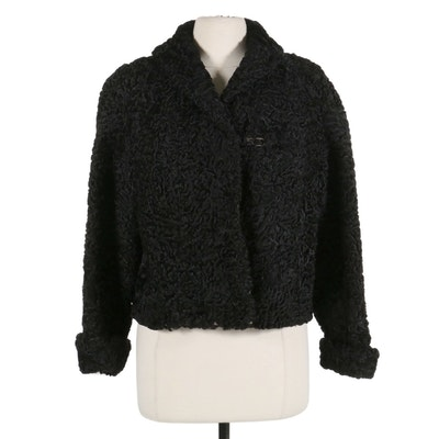 Black Persian Lamb Fur Dolman Sleeve Cropped Jacket, Mid-20th Century
