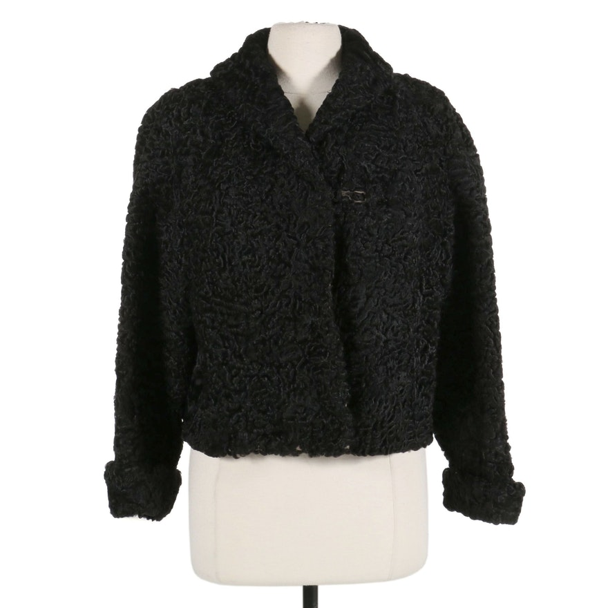 Black Persian Lamb Fur Dolman Sleeve Cropped Jacket, Mid-20th Century