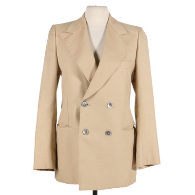 Egon Von Furstenberg Double-Breasted Blazer with Mother-of-Pearl Buttons