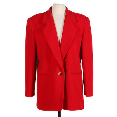 Harvé Benard Red Italian Wool and Cashmere Blend Blazer