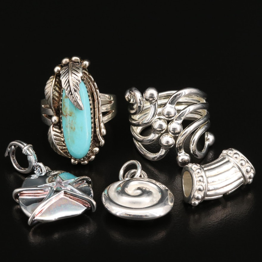 Sterling Silver Rings and Pendant Including Faux Turquoise Accents