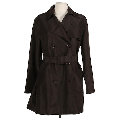 Agnona Silk and Cotton Double-Breasted Belted Jacket, Made in Italy
