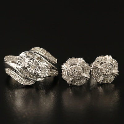 Sterling Diamond Wave Ring and Stud Earring Set