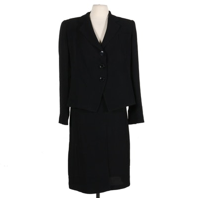 Emporio Armani Black Textured Faux-Wrap Skirt Suit