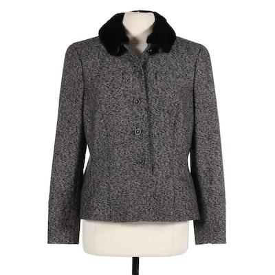 Rena Lange Cashmere Jacket with Mink Fur Collar