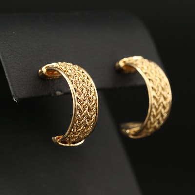 18K Half Hoop Earrings Featuring Braided Design
