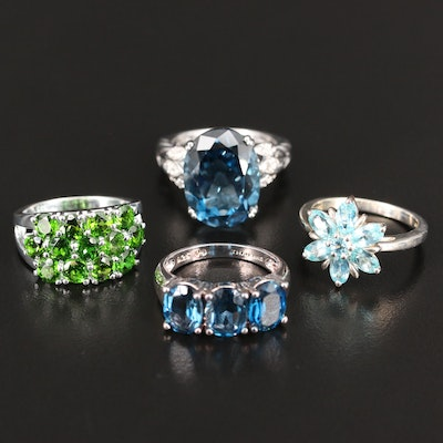 Sterling Silver Ring Selection Featuring Topaz, Apatite and Diopside Accents