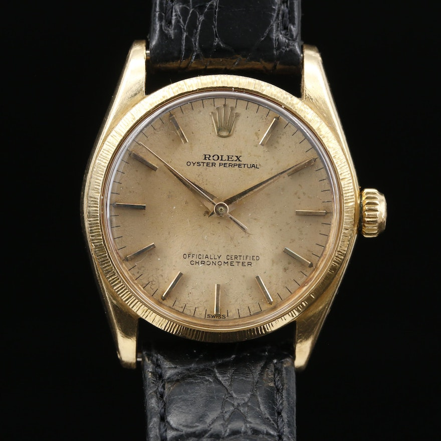 "1963 Rolex ""Oyster Perpetual"" 6551 18K Gold Automatic Wristwatch"
