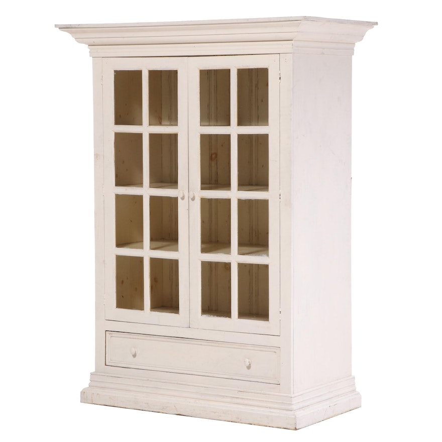 Eddy West American Primitive Style Painted Glass Front Storage Cabinet