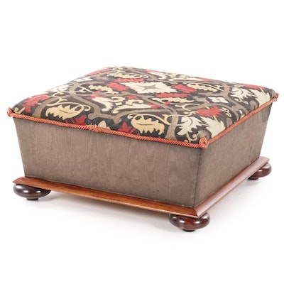 English Bun Foot Ottoman with Aubusson Rug Upholstered Top, 19th Century