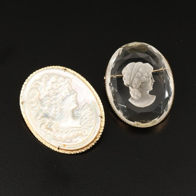 Cameo Brooches Featuring Mother of Pearl and 14K