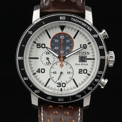 Citizen Eco-Drive Stainless Steel Chronograph Wristwatch with Date