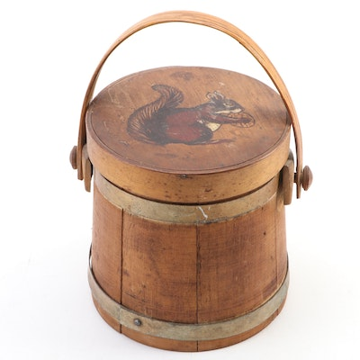 Decorative Small Wood Firkin with Paint-Decorated Lid