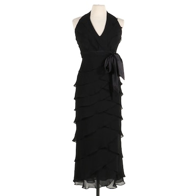 Tadashi Tiered Black Silk Halter Bodycon Maxi Dress
