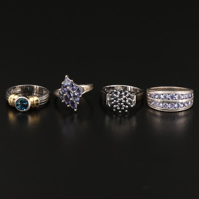 Assorted Sterling Silver Tanzanite, Iolite and Topaz Rings