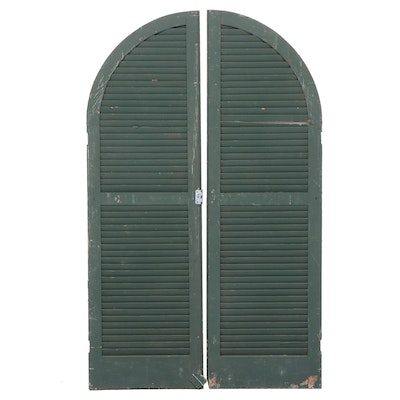 Pair of Large Green-Painted Window Shutters