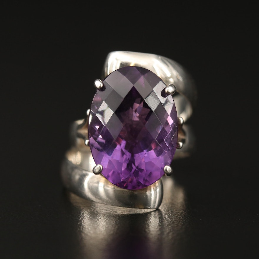 Sterling Silver Amethyst Ring Featuring Coiled Design