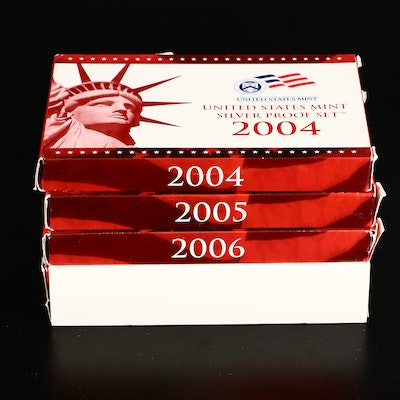 Four U.S. Mint Silver Proof Sets, 2004 to 2007