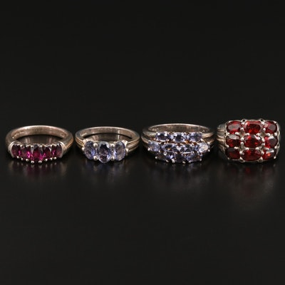 Selection of Sterling Rings Featuring Rhodolite Garnet, Garnet and Iolite