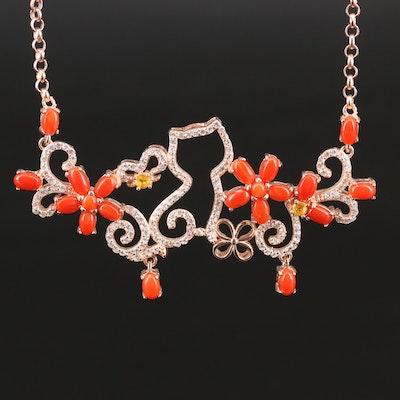 Sterling Silver Coral, Sapphire and Cubic Zirconia Cat and Flower Necklace
