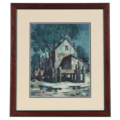 John C. Hare Nocturne Dock Scene Watercolor Painting, Mid to Late 20th Century
